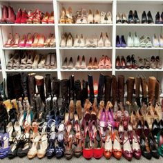yikes!!!! I couldnt imagine this many shoes :( just a couple pairs of dress shoes to match any dress, a couple pairs of tennis shoes, maybe a pair of skater shoes and maybe 8 pairs of high heal boots for me :D the rest of my closet can be dresses and other clothing :D