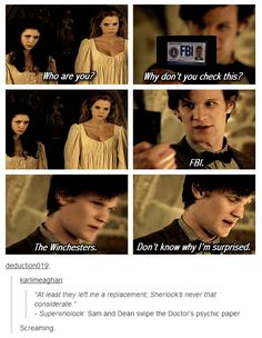 Superwholock. Of course the Doctor would get his psychic paper swiped, and of course Sherlock wouldn't leave him a replacement.