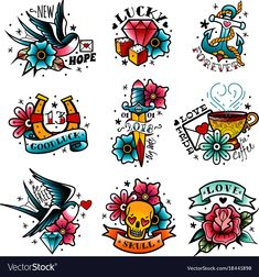 Old tattooing school colored emblems labels set with swallow rose heart cup of coffee knife anchor skull symbols isolated vector illustration , tattoo designs ideas männer männer ideen old school quotes sketches Old School Tattoo Motive, Old School Tattoo Designs, Tattoo School, Tattoo Set, Arm Tattoo, Sleeve Tattoos, Samoan Tattoo, Polynesian Tattoos, Flash Art Tattoos