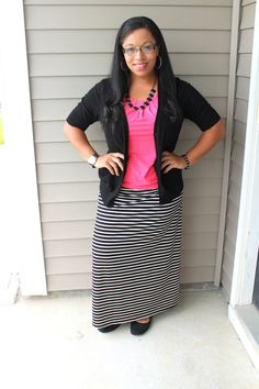 black and white striped maxi skirt and pink top easy fashion; mom outfit idea