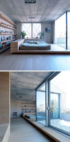 BEDROOM DESIGN IDEA - Place Your Bed On A Raised Platform // This sleeping area has been separated from the rest of the space by being placed on a platform and partially enclosed by raised wood edges.