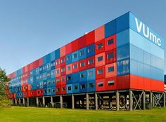 // Cancer Center // MVRDV http://www.mvrdv.nl The Cancer Centre Amsterdam, part of the Antony van Leeuwenhoek Hospital in Amsterdam, needs to be rebuilt and enlarged on its existing site. A temporary institute is to be erected during the construction activities. This is conceived as a series of containers on a small site next to the A19 motorway, within the Zuid-as Development Zone in Amsterdam. The tight location demands a vertical institute. The location next to one of the busiest highways…