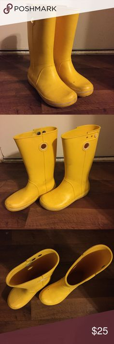 """💛☔️ Crocs Rain Boots Light weight all crocs material. Fun yellow color.  Some wear but still in great shape and the inside is in perfect condition. Comes with a wonder woman croc accessory.  Every time I wear them I get the """"cute rain boots comment, just don't get to use them enough. CROCS Shoes Winter & Rain Boots"""