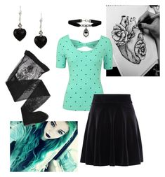 """""""Dark Mint Sweetheart"""" by cherrycokegrunge ❤ liked on Polyvore featuring Louche, New Look, Topshop, Charming Life and Emporio Armani"""