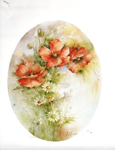 This is a china painting study by Helen Humes titled #63 Poppies & Daisies. This study has line drawing and instructions. This study is in very good condition and comes from a smoke free home.