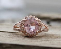 2.32 Ct. Cushion Faint Pink Sapphire Diamond Halo Engagement Ring in 14K Rose Gold on Etsy, $4,235.29