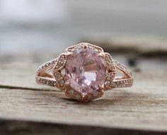 2.32 Ct. Cushion Faint Pink Sapphire Diamond Halo by Studio1040, $3420.00