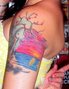 Feather/Tree/Sunset tattoo love the sunset colors