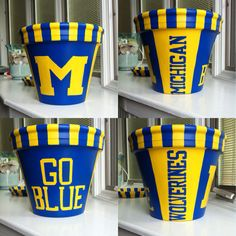 Spring is here! Give this Michigan flower pot a try. Michigan Go Blue, State Of Michigan, University Of Michigan, Michigan Wolverines, Sports Centerpieces, Michigan Crafts, The Mitten State, Yard Party, Clay Pot Crafts