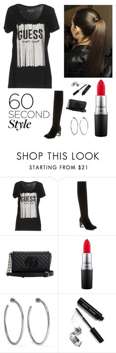 """""""tshirt dress DIVA"""" by kotnourka ❤ liked on Polyvore featuring GUESS, Donald J Pliner, MAC Cosmetics, Jennifer Fisher, Bobbi Brown Cosmetics, tshirtdresses and 60secondstyle"""