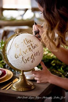 Custom Calligraphy Globe / Your Choice of Wording / Globe Finish in White and Gold Globe or Whitewashed Options / Wedding Guestbook/Nursery - Graduation pictures,high school Graduation,Graduation party ideas,Graduation balloons Rustic Wedding, Our Wedding, Dream Wedding, Wedding White, Wedding Book, Fall Wedding, Wedding Venues, Nautical Wedding, Budget Wedding