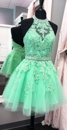tulle homecoming dress,short prom dresses, halter homecoming dress,lace