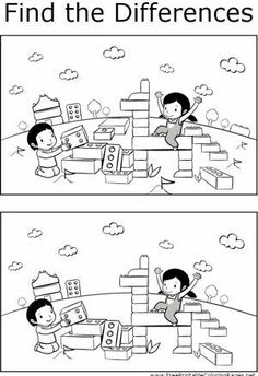 Kids will enjoy finding the differences between the two pictures of kids playing with blocks in this printable coloring page for kids. Preschool Worksheets, Kindergarten Activities, Activities For Kids, Learning Tools, Kids Learning, Find The Difference Pictures, Teaching Numbers, Hidden Pictures, Picture Puzzles