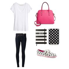 White t-shirt, dark denim jeans, Kate Spade pink crossbody/tote, Kate Spade black and white striped planner, black and white polka dot iPad case and white and black polka dot Kate Spade Ked's