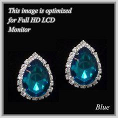 """Amazon.com: Teal Teardrop Silver Tone Clip on Earrings. Rhinestone Clip Earrings. Size 0.8"""" L.: Jewelry"""