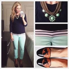 Mint jeans + navy and white striped tee + navy cabled sweater + statement necklace + loafers