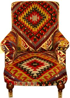 A beautiful handmade armchair covered in antique Anatolian kilim, circa: Size: W: 95 cm x D: 95 cm x H: 82 cm Cowhide Furniture, Log Cabin Furniture, Rustic Wood Furniture, Western Furniture, Funky Furniture, Furniture Decor, Furniture Design, Southwestern Chairs, Southwest Decor