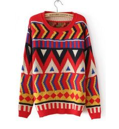 European Style Red Geometrical New Arriva Pullovers Sweater
