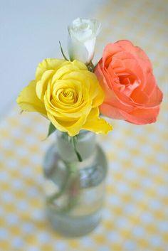 Orange and yellow rose flower arrangement