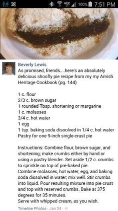 Wet Bottom Shoo Fly Pie