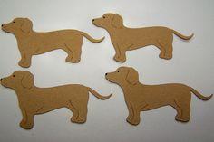 Die Cut Dachshund Puppy Dog Tags Card Toppers 4 pcs. $1.50, via Etsy.