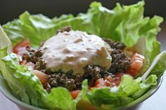 Whopper Salad (Low Carb) from Food.com:   								This is perfect when you are craving a fast food burger, it really fills you up!