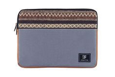 """Grey Laptop Sleeve/Bag with Tribal fabric for 13"""" MacBook Pro, 13"""" MacBook Pro with Retina Display, and 13"""" MacBook Air. Available in Black, Navy, Olive green, Grey, Teal. Also available in 15""""."""