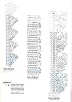 strikking, u og mønstre. Crochet Borders, Crochet Chart, Thread Crochet, Crochet Trim, Filet Crochet, Crochet Lace, Crochet Stitches, Lace Patterns, Crochet Edgings