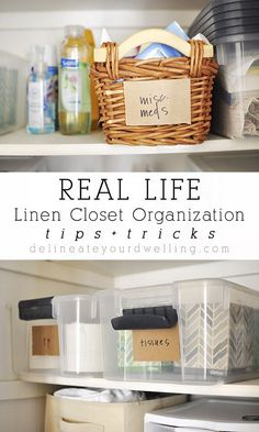 Tips + Tricks to my REAL LIFE Linen Closet Organization, for when it can't… Organisation Hacks, Linen Closet Organization, Office Organization, Bathroom Organization, Organized Bathroom, Organiser Son Dressing, Armoires Diy, Organizing Your Home, Organizing Ideas