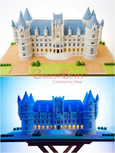 """Wedding cake created in the shape of Chateau Challain, the venue where the couple were getting married. The cake contained LED lights on.the ground floor so this shows the """"day"""" and """"night"""" views."""