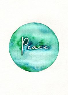 Peace on Earth / watercolor print / teal / light green / aqua /. $20.00, via Etsy.                                                                                                                                                                                 More