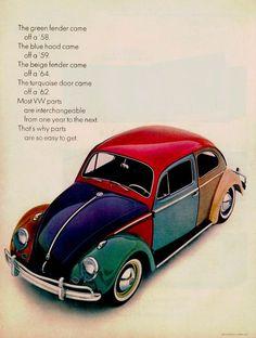 Official Volkswagen Beetle Metal Keyring Mechanic Dad Gift Novelty Vintage Retro