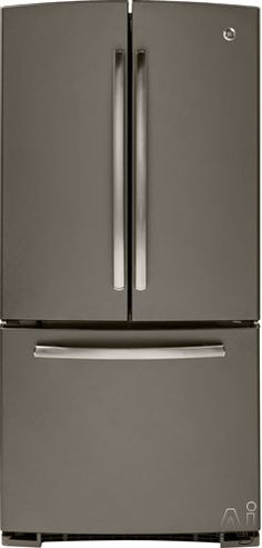 GE GNE22GMEES 22.1 cu. ft. French Door Refrigerator with 5 Glass Shelves, 3 Adjustable Gallon Door Bins, Factory Installed Icemaker, Adjustable Humidity Drawers and Internal Water Dispenser: Slate