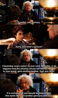 "Mr. Ollivander telling Harry about his parents wands, ""It seems only yesterday she was in here herself, buying her first wand. Ten and a quarter inches long, swishy, made of willow. Nice wand for charm work.... Your father, on the other hand, favored a mahogany wand. Eleven inches. Pliable. A little more power and excellent for transfiguration."""