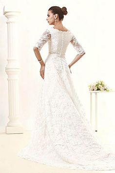 A-line V-neck Half Sleeve Lace Vintage Wedding Dress