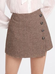 SheIn offers Button Detail Plaid Wrap Shorts & more to fit your fashionable Skirt Outfits, Dress Skirt, Fall Outfits, Casual Outfits, Cute Outfits, Short Skirts, Mini Skirts, Cute Fashion, Fashion Outfits