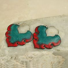 Red/Teal Moroccan Inspired Copper Enamel Earrings by tekaandzoe, $46.00