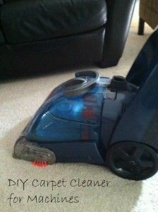 Homemade carpet cleaner for machines:  In 2-Gallon Pitcher, mix 1 gallon of warm water with 1/4 cup of distilled white vinegar and 1/4 cup of bleach-free liquid dish soap.  Optionally you can add a few drops of essential oils to give carpet fresh scent.  Pour mixture into the cleaning solution reservoir of your carpet cleaning machine.  Be sure to pre-treat any stains.  Clean carpets as normal.