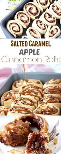 These salted caramel apple cinnamon rolls are nothing but amazing with rolls filled with caramelized apples, cinnamon, pecans and salted caramel topping.