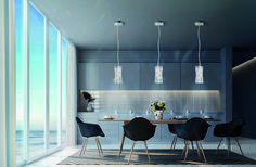 Swarovski Glissando Wide LED Crystal Mini Pendant with Swarov Stainless Steel Indoor Lighting Pendants Luxury Lighting, Custom Lighting, Kitchen Island Bench, Sparkling Lights, Mini Pendant, Kitchen Lighting, Swarovski Crystals, Kitchen Design, Indoor