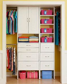 For a great looking wardrobe inside and out grab some colourful baskets to organise clothes and more. Add some labels to remind you where things go. Built in draws and cupboards organise and hide clutter.