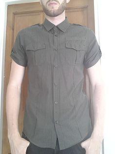 Men's Medium sized Green Striped Short sleeve Shirt - River Island   eBay