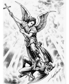 Jesse Santos - Book of angels Archangel Michael Tattoo, St Michael Tattoo, Body Art Tattoos, Sleeve Tattoos, Los Muertos Tattoo, Jesus Tattoo, Angels Tattoo, Paradise Tattoo, Demon Tattoo