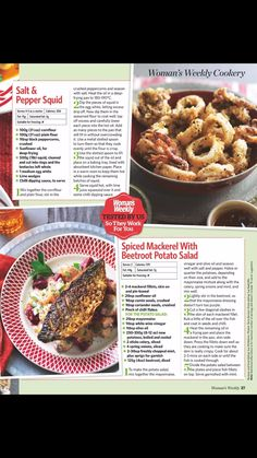 Spiced mackerel with beetroot potato salad Salt And Pepper Squid, Womans Weekly, Beetroot, Fish And Seafood, Fish Recipes, Potato Salad, Sausage, Spices, Lime