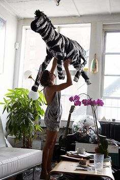 Zebra pinata: A pinata is a must...as long as I don't have to vacuum afterwards