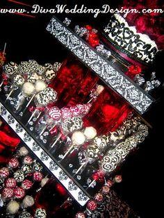 Black, White, and Red Damask Wedding Cakepop Display  Check out our website www.DivaWeddingDesign.com