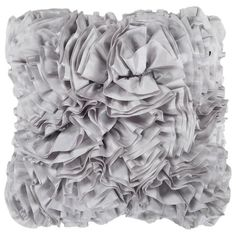 Add a touch of glamour to your sofa or bed set with this fanciful pillow, featuring a textured ruffle design in light gray.     Product:...