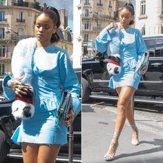 Rihanna Marques Almeida blue pleated top fall 2016 and mini skirt, Dsquared Riri sandals, Fendi Fall 2016 fur stole, Dior silver Diorama handbag
