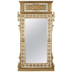 Neoclassical parcel gilt and painted mirror, Italy c. 1785