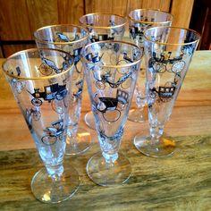 Set of 6 vintage car pilsner glasses
